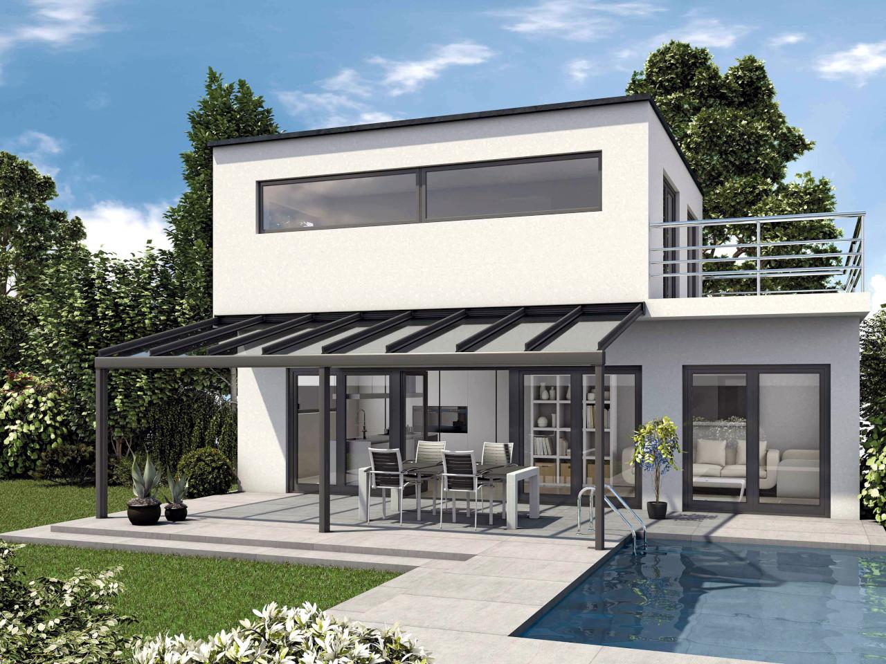 Alu Terrassendach mit Glas RAL7016 beschichtet