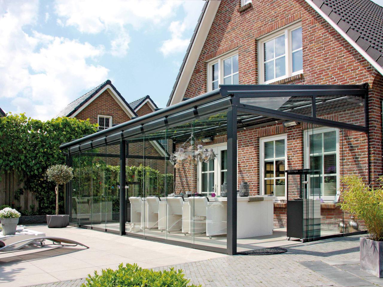Alu Terrassendach mit Glas Schiebetür
