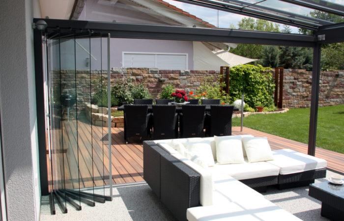 Alu Terrassendach Glas mit Drehschiebetür