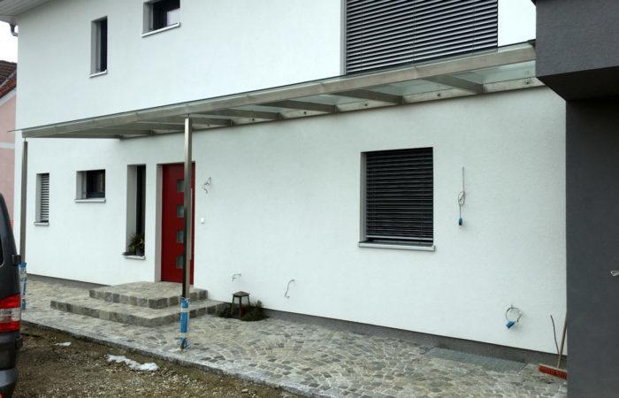 Niro Edelstahl Vordach mit Glas