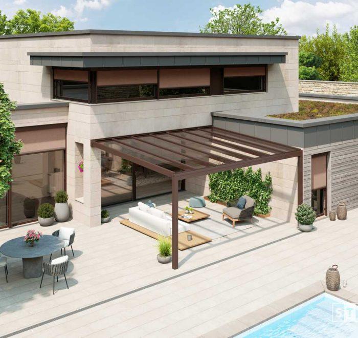 Alu Terrassendach mit VSG-Glas Eindeckung Stobag Nyon