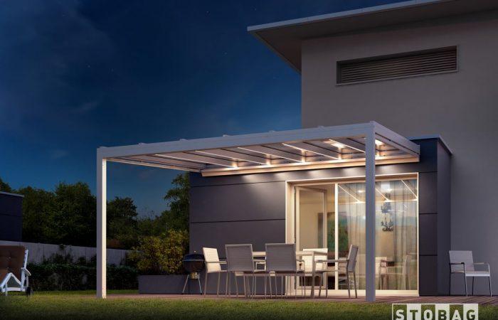 Alu Terrassendach mit VSG-Glas und LED Strips Stobag Nyon